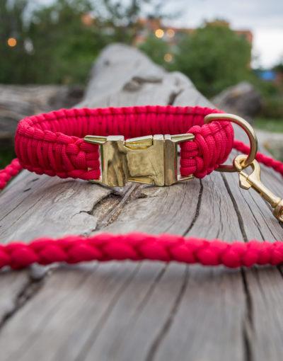Červené vodítko s kovovou karabinou pro psa