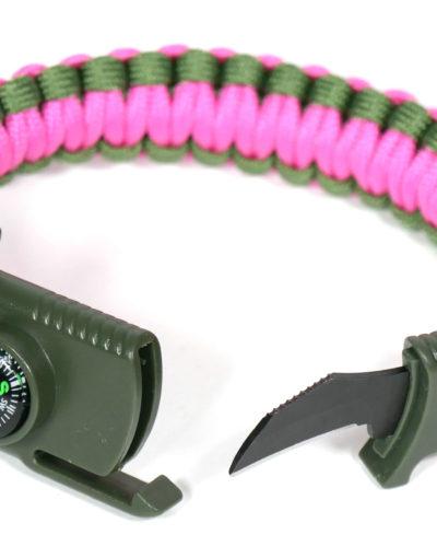 Růžovo-zelený taktický náramek